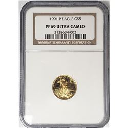 1991 P $5 GOLD EAGLE NGC PF69 ULTRA CAMEO