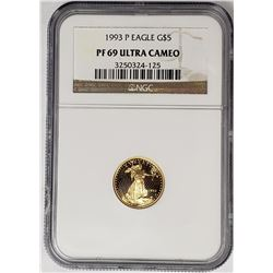 1993 P $5 GOLD EAGLE NGC PF69 ULTRA CAMEO
