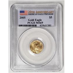 2005 $5 GOLD AMERICAN EAGLE PCGS MS69