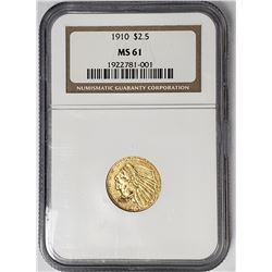 1910 $2.50 GOLD INDIAN NGC MS61
