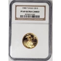 1988 P $10 GOLD EAGLE NGC PF69 ULTRA CAMEO