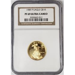 1989 P $10 GOLD EAGLE NGC PF69 ULTRA CAMEO