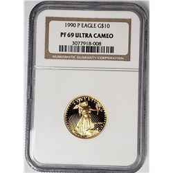 1990 P $10 GOLD EAGLE NGC PF69 ULTRA CAMEO