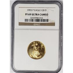 1993 P $10 GOLD EAGLE NGC PF69 ULTRA CAMEO