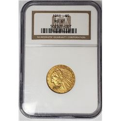 1911 $5 GOLD INDIAN NGC MS61