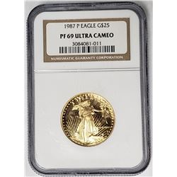 1987 P $25 GOLD EAGLE NGC PF69 ULTRA CAMEO