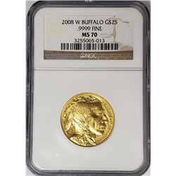 2008 W $25 GOLD BUFFALO NGC MS70 .9999 FINE