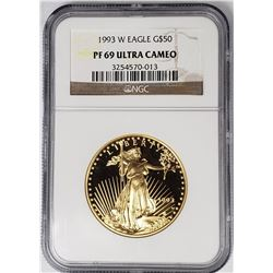 1993 W $50 GOLD EAGLE NGC PF69 ULTRA CAMEO
