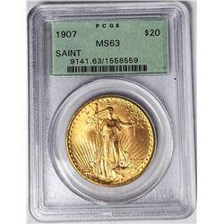 1907 $20 ST GAUDENS GOLD PCGS MS63