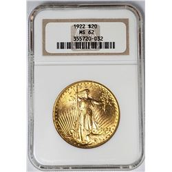 1922 $20 ST GAUDENS GOLD NGC MS62