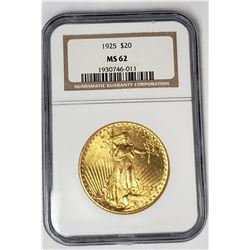 1925 $20 ST GAUDENS GOLD NGC MS62