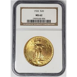 1926 $20 ST GAUDENS GOLD NGC MS62