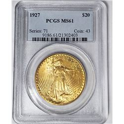1927 $20 ST GAUDENS GOLD PCGS MS61