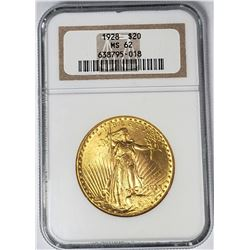 1928 $20 ST GAUDENS GOLD NGC MS62