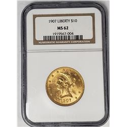 1907 $10 LIBERTY GOLD NGC MS62