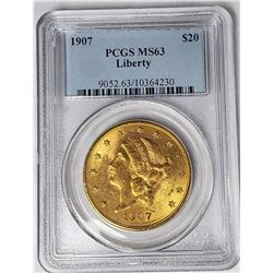 1907 $20 LIBERTY GOLD PCGS MS63