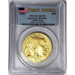 2006 $50 BUFFALO PCGS MS70 FIRST STRIKE