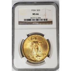 1924 $20 ST GAUDENS GOLD NGC MS66