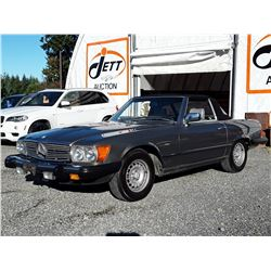 0I --  1985 MERCEDES 380 SL CONVERTIBLE , Grey , 242756  KM's