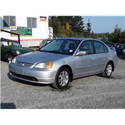 "A4 --  2003 HONDA CIVIC LX  , Silver , 253470  KM's ""NO RESERVE"""