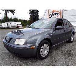A12A --  2003 VW JETTA GLS SEDAN, GREY, 267,789 KMS