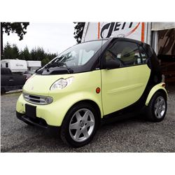 "A2 --  2005 SMART FORTWO, YELLOW, 58,734 KMS ""NO RESERVE"""