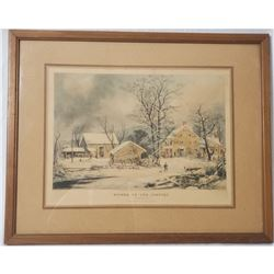 Currier and Ives Winter In The Country Lithograph