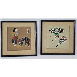 Pair of Woodblock on Linen with Asian Motif