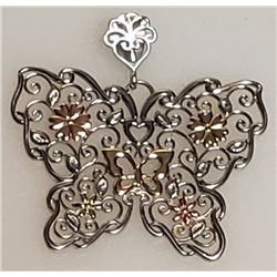 """10k & .925 """"Love Earth"""" Butterfly Charm. Very Good Condition."""