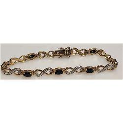.925 Bracelet with Dark Blue Stones