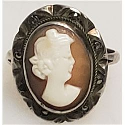 Antique Cameo .800 Silver & Marcasite German Ring