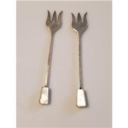 Edward Viner Sterling Silver & Mother of Pearl Pickle Forks