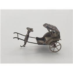Silver Chinese Rickshaw Figurine