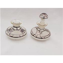 (2) Liquid Silver Adorned Perfume Bottles