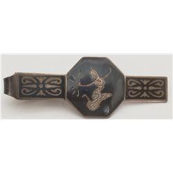 Siam Sterling Silver and Black Enamel Octagon Tie Clip