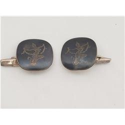 Siam Sterling Silver and Black Enamel Large Cufflinks