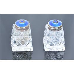 Enameled Norway Sterling Silver Salt & Pepper Shakers