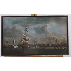 British V. Dutch Naval Battle 1780 Print