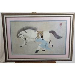 Oriental Horse & Rider Print
