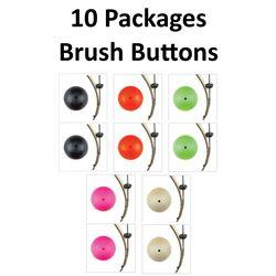 10 x Brush Buttons 2/pk