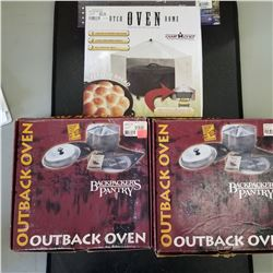 OUTBACK OVEN QTY 2 RETAILS $109.99. DUTCH OVEN DOME QTY2 RETAILS 52.99EA