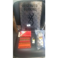 Parking Sign 270 Federal Brass, Pocket Knife, Shotgun Leather Cheek Rap