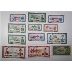 Banka e Shtetit Shqiptar. 1957-1976. Lot of 12 Specimen & Issued Notes.