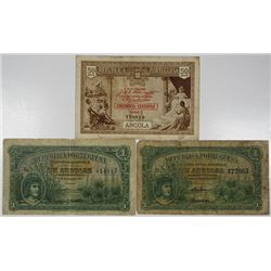 Republica Portuguesa - Angola. 1923-1942. Lot of 3 Issued Notes.