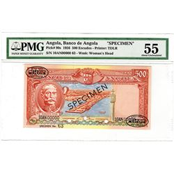 Banco de Angola. 1956. Specimen Banknote.