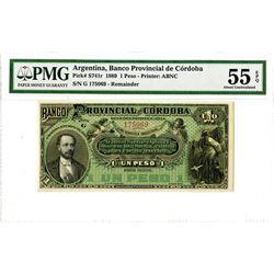 Banco Provincial de Cordoba. 1889. Remainder Banknote.