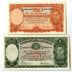 Commonwealth of Australia. 1938-1939. Lot of 2 Issued Notes.