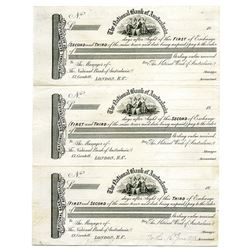 National Bank of Australasia 1893 Uncut Proof Sheet of 3 Bills of Exchange.