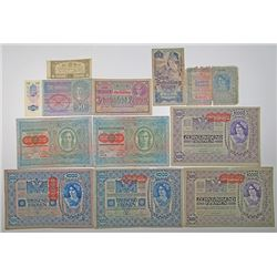 Oesterreichisch Ungarische Bank. 1860s-1920s. Lot of 11 Issued Notes.