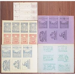 Dirnwagram, Inzersdorf & Protztrum. 1921. Group of 5 Notgeld Proof Uncut Sheets.